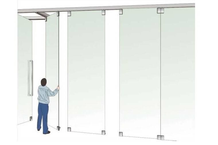 Раздвижные стеклянные перегородки трансформер