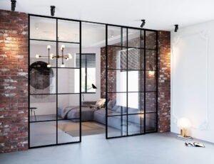 межкомнатные перегородки раздвижные стеклянные в интерьере фото